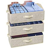 Product Image of the 3 Pack Storage Bins, Trapezoid Large Storage Box, Foldable Fabric Bins and Baskets, Clothes Storage Bin Box for Shelf, Closet, Office (Jumbo, 20'L x 11'W x 8.5'H, Beige)