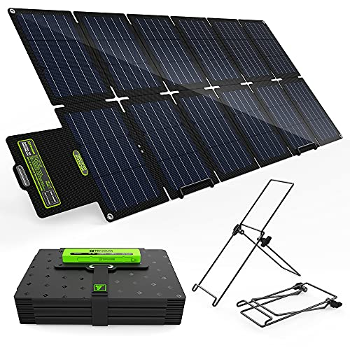 Topsolar SolarFairy 100W Portable Foldable Solar Panel Charger Kit 18V DC Output for Portable Generator Power Station + 12V RV Boat Car Battery + USB & Type C for Cell Phone Tablet
