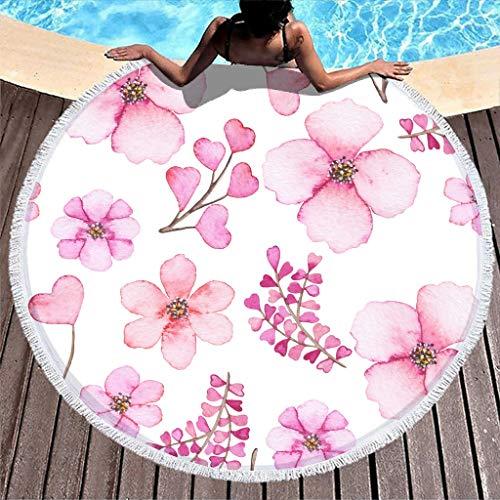 Gamoii Runde Strandtücher Badetuch Frische Rosa Blumen Picknickdecken Strandmatte Frottee Badetuch Überlegen Teppich mit Fransen für Damen Kinder Strand Urlaub Reise White 150 cm