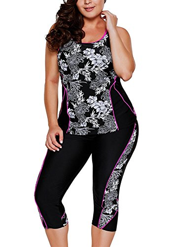 GLUDEAR Women's Plus Size Floral Capris Bottom Tankini Two Picec Swimsuits,Black,3X