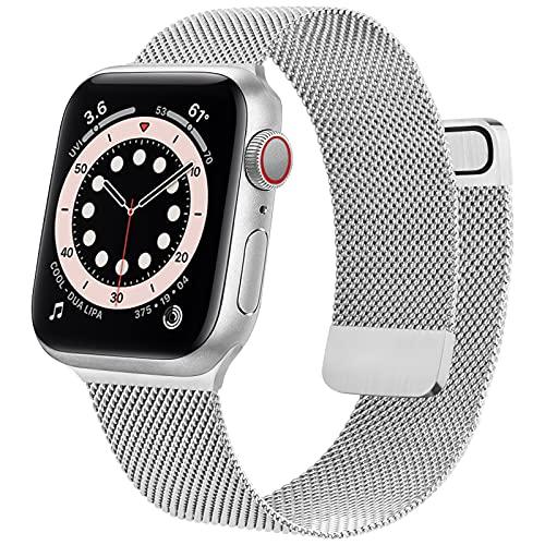 Wanme Correa Compatible con Apple Watch Correa 38mm 40mm 42mm 44mm, Pulsera de Repuesto de Metal de Acero Inoxidable para iWatch Series SE 6 5 4 3 2 1 (38mm/40mm Plata)