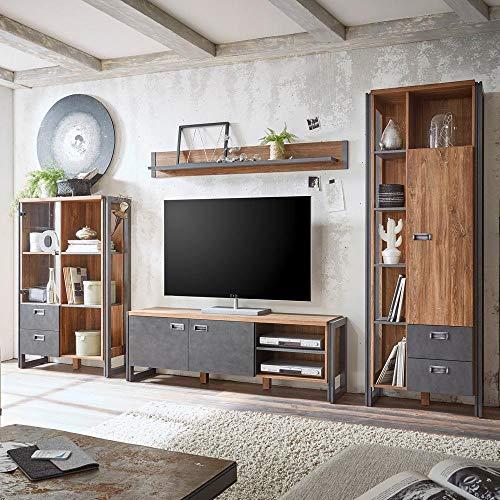 Lomadox Moderne Wohnzimmer Wohnwand Anbauwand TV Media Schrankwand Industrial Design mit Matera Anthrazit und Stirling Oak Nb.