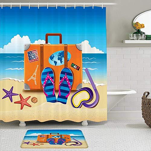 ZELXXXDA Juegos de Cortinas de Ducha con alfombras Antideslizantes,Ilustración de Maleta de Viaje con Pegatinas, Alfombra de baño + Cortina de Ducha con 12 Ganchos