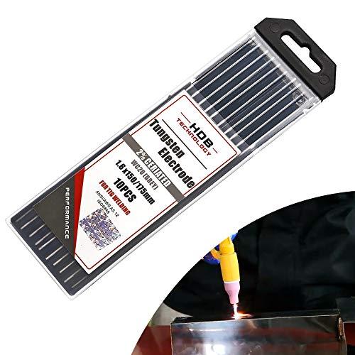 10x aguja de electrodo de tungsteno WC-20 Ø 1,6 x 175 mm Electrodo de tungsteno Soldadura TIG WC20 Adecuado para acero inoxidable, titanio, aleación de níquel, etc.