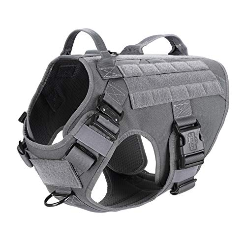 """ICEFANG Tactical Dog Harness 2X Handle,Working Dog MOLLE Vest ,No Pulling Front Leash Clip,Hook and Loop for Dog Patch (L (Neck:18""""-24"""" ; Chest:28""""-35"""" ), Wolf Gray)"""