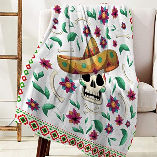 Manta Para México Cinco de Mayo Calavera con flores de sombrero de paja Blanket 125 X 100CM