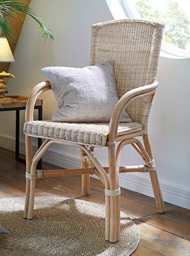 Dekoleidenschaft Rattan-Stuhl, Natur lackiert, Komfort Sitzhöhe 49cm, Korbstuhl, Seniorenstuhl
