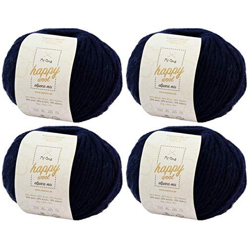 MyOma Alpaka Wolle -4X Happy Wool Alpaca Mix Nachtblau (Fb 61)- 4 Knäuel Wolle blau + GRATIS Label – Wolle mit Alpaka – 50g/80m – Nadelstärke 7-8mm –Mischwolle zum Stricken – Blaue Wolle