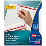 Avery Plastic 8-Tab Dividers, Easy Print & Apply Clear Label Strip, Index Maker, Frosted Clear, 5 Sets (12450)