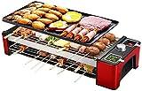 YAOSHUYANG Parrilla eléctrica Plancha Hogar de múltiples Funciones Parrilla eléctrica, Barbacoa Teppanyaki máquina de Interior Estante en la Barbacoa, for reuniones Familiares