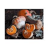 Pintura al óleo de DIY Setas y calabazas Pintar por kit de números la lona de para adultos y principiante dibujo con los cepillos 40x50cm sin marco