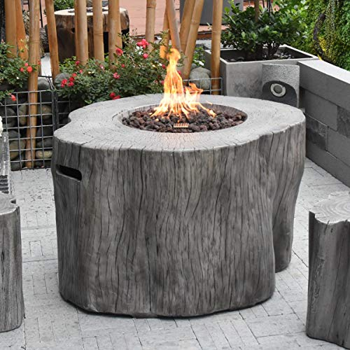 Elementi Warren HPC Concrete Round Fire Table in Classic Grey