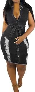 Sunyastor Women's Sexy Bodycon Denim Dress Sleeveless Summer Party Club Mini Dress with Button Down Beach Dress S-XXXL