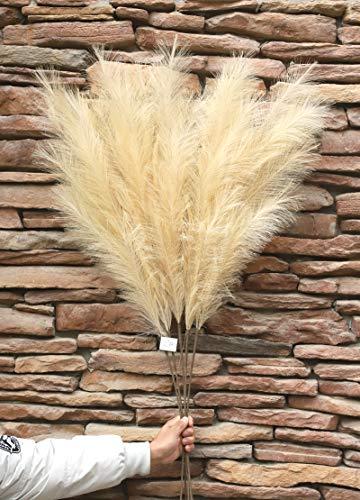 NaturalNH Pampas artificiales - Beige 110 cm de alto y mullido decoración de césped para uso en interiores y exteriores (3 tallas)