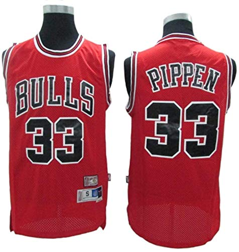 Pippen Jersey # 33 del Baloncesto de los Hombres, toros Retro de Las Estrellas Transpirable Tela Alero Jerseys (Color : Red, Size : M)