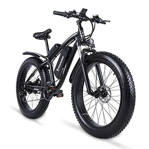 KELKART Bicicleta Eléctrica 1000W con Neumáticos Gruesos Vehículo Todoterreno, Batería Extraíble de Iones de Litio 48V 17AH, Pantalla LCD de 3.5 Pulgadas, Sistema de Freno Doble y Asiento Trasero.
