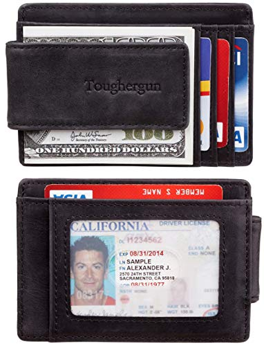 Toughergun Genuine Leather Magnetic Front Pocket Money Clip Wallet RFID Blocking (Vintage black)
