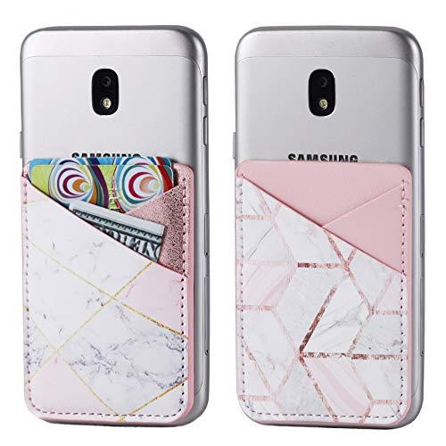 2er-Pack PU Leder Handy Tasche Stick On Card Wallet Kartenhalter Kreditkarten-Halter (Double Secure) mit 3M-Aufkleber für die Rückseite von iPhone, Android und Allen Smartphones, Cubic Marble