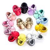 BENHERO Newborn Baby Boys Girls Soft Soled TasselBowknots Crib Infant Toddler Prewalker Moccasins Shoes(11cm, 0-6 Months Infant, 5107/White