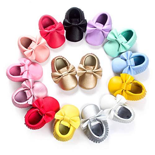 BENHERO Newborn Baby Boys Girls Soft Soled TasselBowknots Crib Infant Toddler Prewalker Moccasins Shoes(11cm, 0-6 Months Infant,5107/Gold