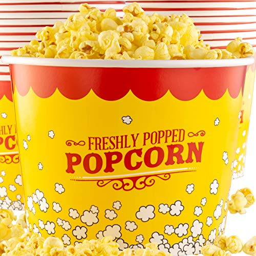 Premium Leak-Free 85 Oz Disposable Popcorn Tub 50pk By Avant Grub. Stackable Buckets With Fun Design. Great For Concession Stands, Carnivals, Fundraisers, School Events, Or Family Movie Nights.
