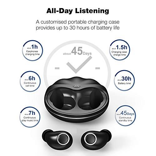 Auriculares inalámbricos, SoundMAGIC TWS50 Bluetooth V5.0 Earphones 4-5H Tiempo de reproducción Auriculares estéreo internos IPX7 Agua Earbuds con Control táctil a Prueba