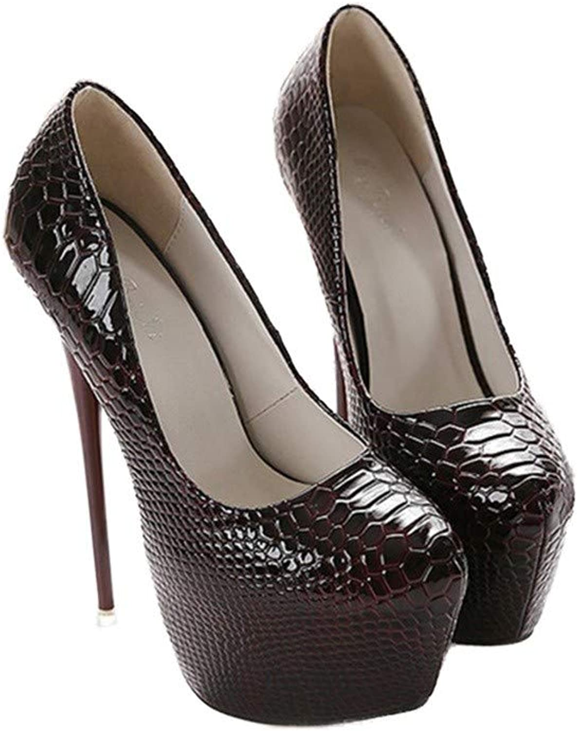 QIYUN.Z Women Fashion Solid color Patent Leather Sexy Serpentine Waterproof Extra-high Heel shoes