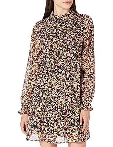 Only ONLINGRID L/S Short Dress WVN Kleid, Black/AOP:Miss Ditsy-Rouge Red, M para Mujer