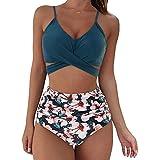 Mujers Conjuntos de Bikinis Cintura Alta,Push Up Bikini Traje de Baño de Bra Color Sólido y Estampado Braguitas,Viajes Playa Bañador de Dos Piezas para Vacaciones