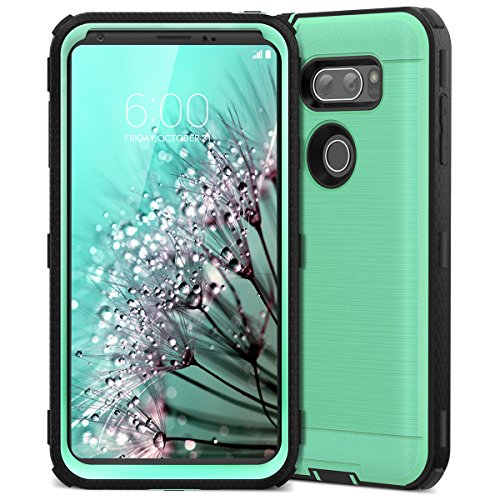 LG V30 Case, CinoCase LG V30 Plus Case Heavy Duty Armor Protective Case Hybrid TPU Bumper Shockproof Case with Brushed Metal Texture Hard PC Back for LG V30 / V30 Plus / V30S (2017) Mint