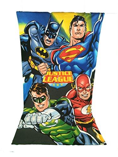 Toalla de playa, toalla de playa microfibra–70x 140cm–Justice League DC Comics–la Liga des justiciers–Superman–Batman–Flash–Green Lantern