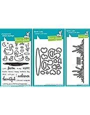 Lawn Fawn Swan Soiree Clear Stamp & Dies + Lawn Fawn Cattails Border Dies - Three Item Bundle