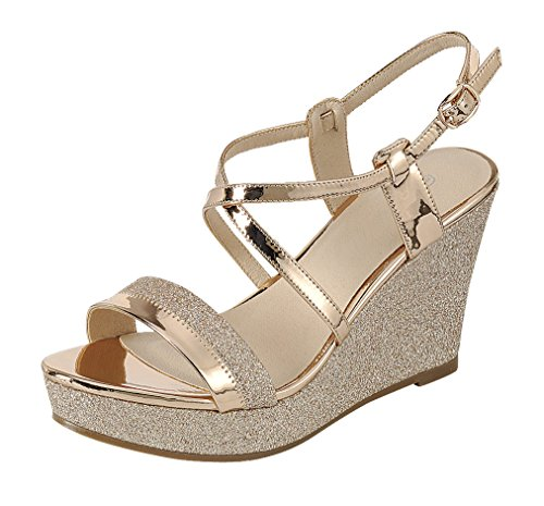 Cambridge Select Women's Open Toe Crisscross Ankle Strappy Mixed Media Glitter Platform Wedge Sandal (8 B(M) US, Rose Gold)