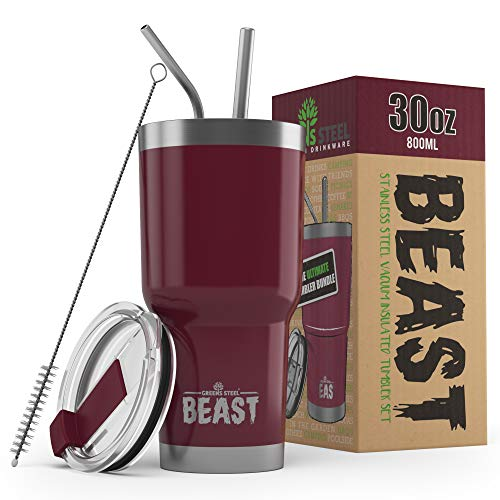 BEAST 30oz Cranberry Tumbler - Stainless Steel Vacuum Insulated Coffee...