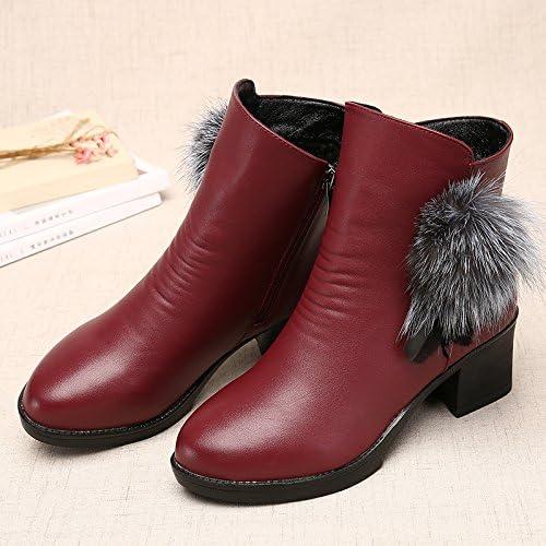 Shukun Bottes Bottes des mères Bottes d'hiver des Femmes épaisses avec épaissie avec des Bottes Martin Chaussures pour Femmes Chaussures en Coton Chaussures d'age Moyen