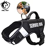 FML PET Adjustable No Pull Service Dog Vest Harness with Reflective Rope