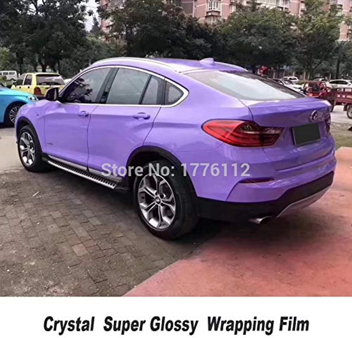 Highest Quality Crystal Series Purple Glossy Vinyl Wrapping Film Solvent Based Low Initial tack for High end car(Size  1.52m X 5m)
