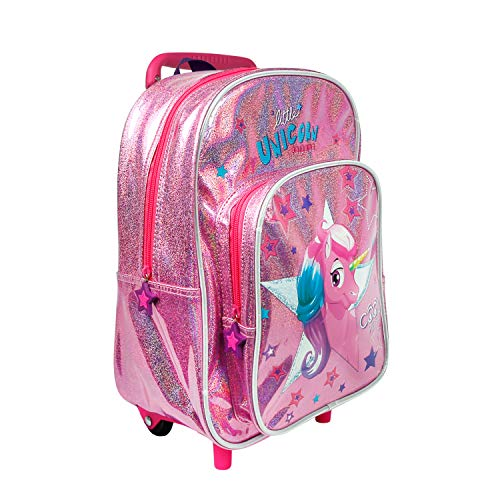 PERLETTI Unicorn Carry On Backpack Children 2/5 Years with Pocket - Toddler Rucksack with Pink Glitter for Kindergarten - Girl Hand Luggage with Stars and Reflective Piping - 32x23x15 cm (Unicorn)