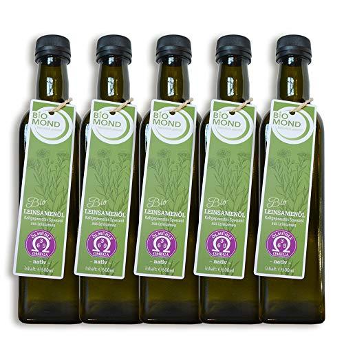 BIO Leinsamenöl Leinöl von BIOMOND / 500 ml / AKTION 3 plus 2 / 2 Flaschen Gratis / TESTSIEGER 2017 / nativ / Speiseöl