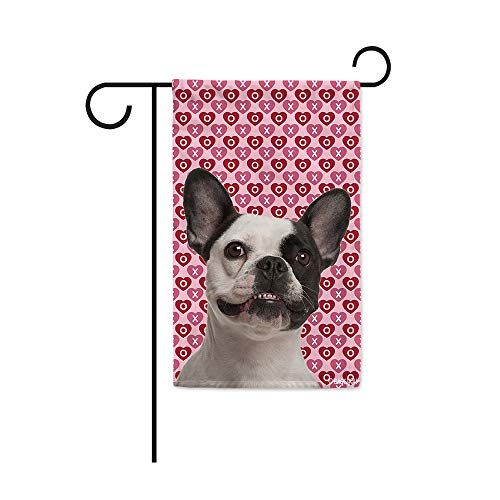 BAGEYOU Hugs and Kisses My Dog Pet French Bulldog Valentine's Day Garden Flag Hearts Love XOXO Decor Home Banner for Outside 12.5X18 Inch Print Both Sides