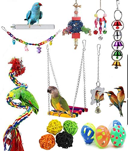 Bird Toys Parrot Swing Toys - 16 PCS Birds Parrot Toys Bird Cage Toys Bird Swing Toys Bird Swing Toys Chewing Toys with Bells Toys Handmade for Finches Small Parrots Parakeets Cockatiels Conures