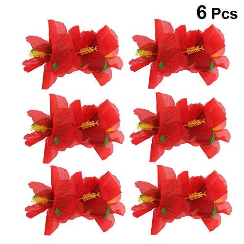 Lurrose 6pcs flor de hibisco pinza de pelo nupcial boda fiesta playa pinzas de pelo para luau partido favor hawaiano decoración del partido (rojo)
