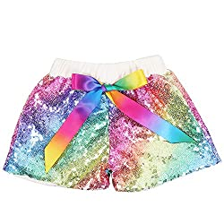 Rainbow Ivory Sequin Shorts Glitter on Both Sides