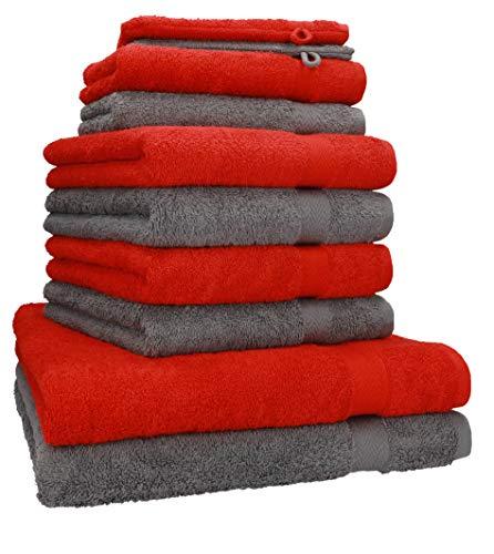 Betz 10-TLG. Handtuch-Set Premium 100% Baumwolle 2 Duschtücher 4 Handtücher 2 Gästetücher 2 Waschhandschuhe Farbe Rot & Anthrazit Grau
