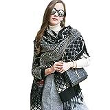 DANA XU 100% Pure Wool Women's Large Traditional Cultural Wear Pashmina Scarf (Black) (Black14)