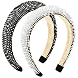 2 Pieces Diamond Padded Headband Rhinestone Headband Crystal Beaded Hairband Wide Hair Hoops Velvet Hair Band Hair Accessories for Woman Girls (Silver, Black)