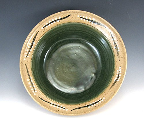 This Pottery Serving Bowl/Green Pottery Serving Bowl/Medium Sized Serving Bowl/Hand Made and Hand painted Pottery Serving Bowl.