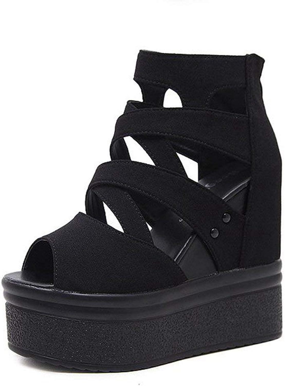 Elsa Wilcox Women Sandals Gladiator Peep Toe Chunky Hidden Heel Zipper Booties Black Strappy Platform Wedges