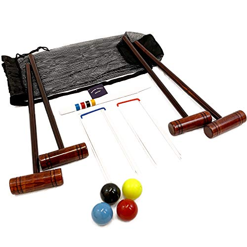 Big Game Hunters Hatford 4 Player Croquet Set With 76 Centimetre Long Mallets in a Drawstring Bag
