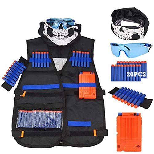 Yunt-11 Chaleco táctico para niños, Chaleco táctico Ajustable para Pistolas Nerf, Incluye Balas de Recarga, Chalecos tácticos, Clips de Recarga, máscaras faciales, muñequeras, Gafas